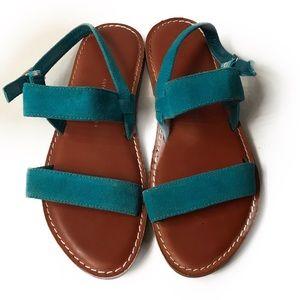 GAP Teal Blue Suede 2 Strap Flat Sandals